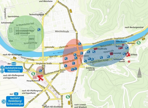 Map of all car parks in Heidelberg